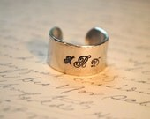 Monogramed Hand Stamped Personalized Cuff Ring