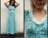 Vintage Blue Floral 1970s Maxi Dress