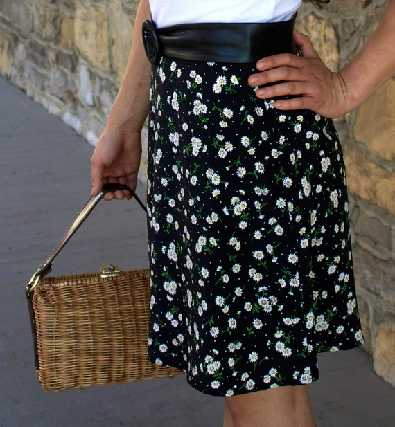 Reserved for Kitty Vintage Black Skirt with Daisies Very Hipster