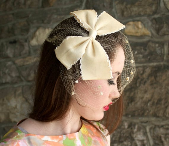 Vintage Hair Net with Bow 1960s Rockabilly Retro Pinup