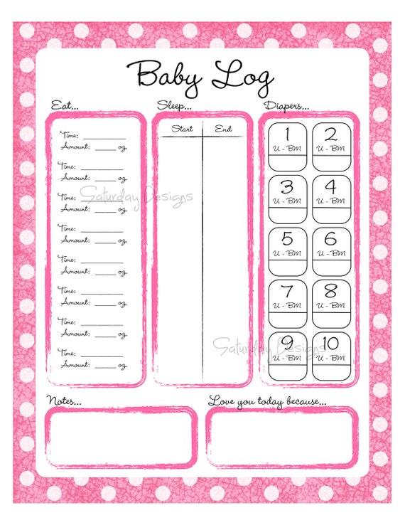 diaper change log sheet