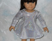 American girl doll clothes, 18 inch doll clothes, Silver Skating/Dancing Dress
