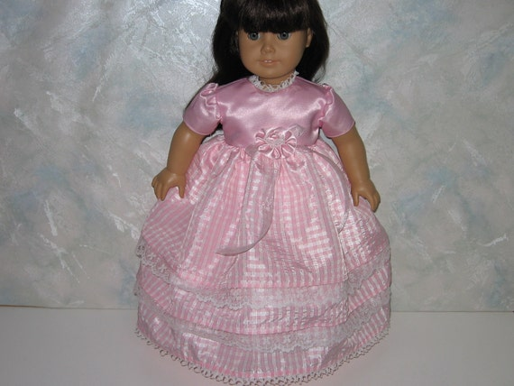 American Girl doll clothes, 18 inch doll clothes, Pink Gingham Fancy Dress