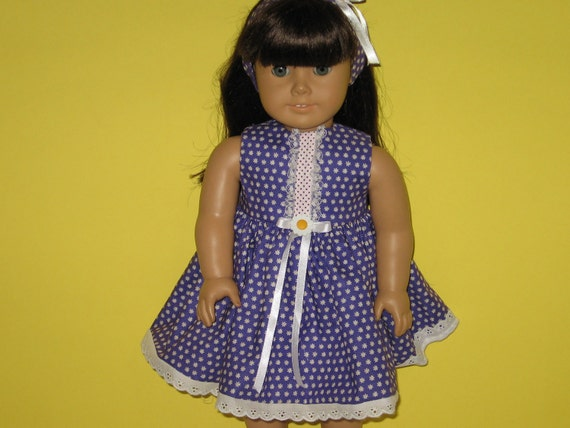 American Girl doll clothes, 18 inch doll clothes, Purple Flower Sleeveless Dress