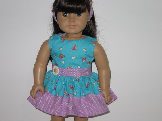 American Girl doll, 18 inch doll, Blue Butterfly and Lavender Dress