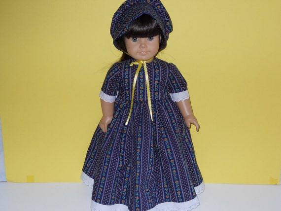 18 inch American Girl doll clothes, Blue Striped Flower Prairie Dress