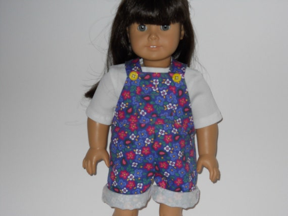 American Girl doll clothes, 18 inch doll clothes, Flower Overall Shorts