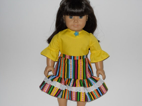 SALE!!  18 inch doll clothes, American Girl doll clothes, Yellow Blouse and Black Striped Skirt