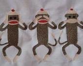 Fun Sock Monkey machine embroidery designs 4x4, 5x7
