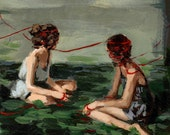 Red Ribbon, sewn painting