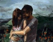 Honeymoon . large giclee digital art print poster of couple in landscape painting