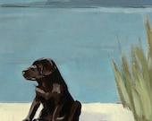 Otis . giclee art print of dog painting