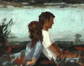 FALLING  . giclee digital art print poster of couple in love painting . valentines day gift idea