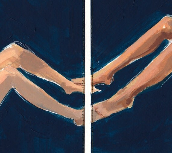 Leg sketch in two parts, sewn painting