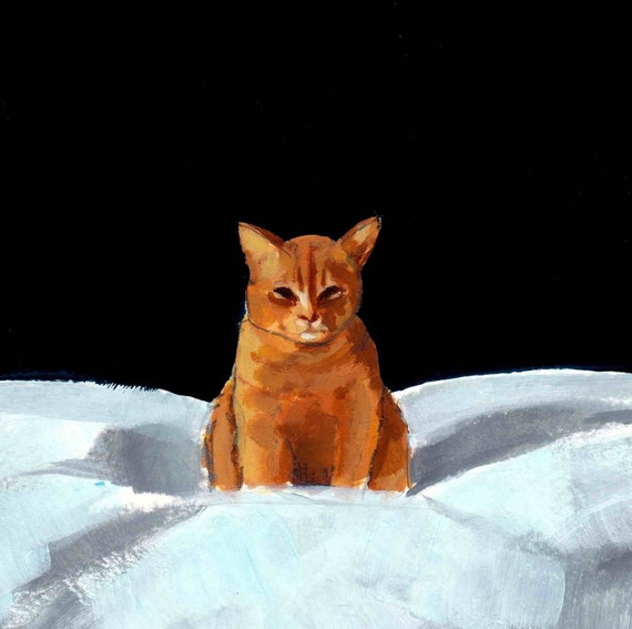 Sinister Tabby . large cat art animal painting print