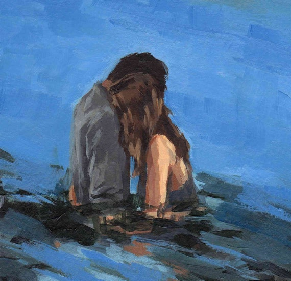 MY LOVE .  large giclee digital poster art print of couples painting