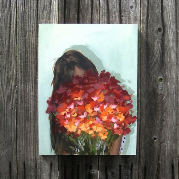 RESERVED FOR CHRIS . Arrangement . original painting . with a sage green background and red, orange and pink flowers