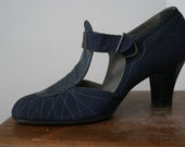 RESERVED LISTING   1920s-1930s Navy T-Strap Selby Arch Preserver Shoes