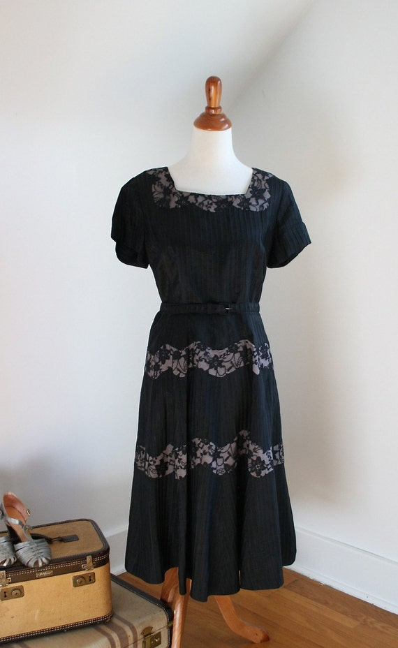 """1950s """"Orchids in the Moonlight"""" Black Lace & Lavender Illusion Paneled Dress  AS IS"""