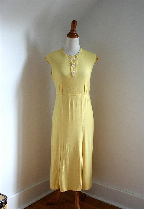 Vintage 1930s Dress Yellow Crepe Rayon