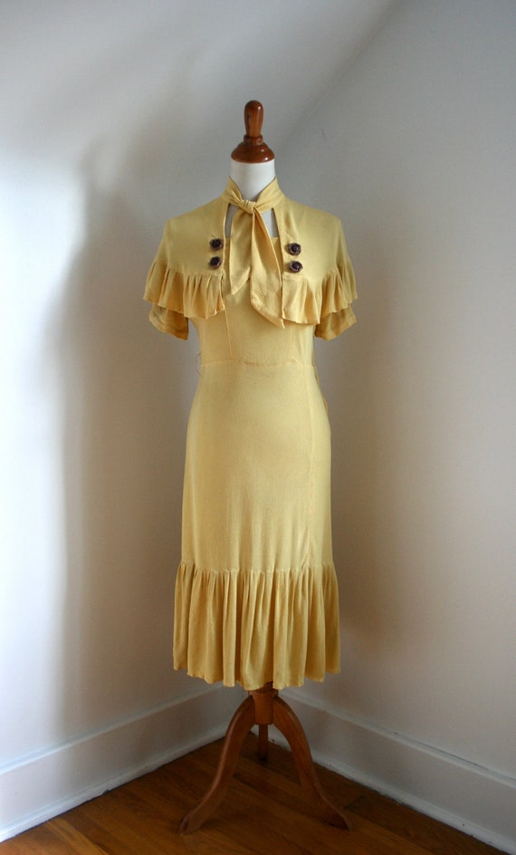 RESERVED  As Is / Vintage 1930s Yellow Crepe Rayon Dress & Capelet Set