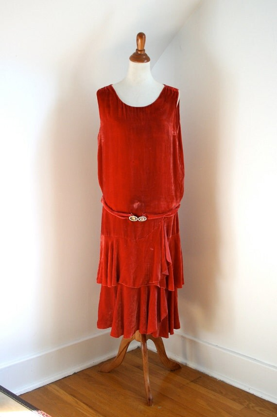As Is Vintage 1920s Red Velvet Dress