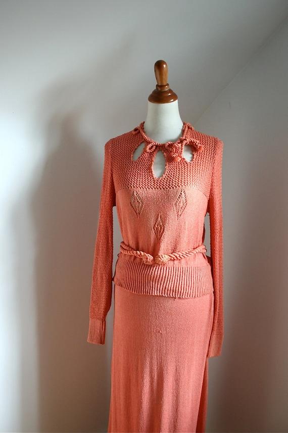Vintage 1930s Nasturtium Orange Knit Sweater Dress Set /As Is