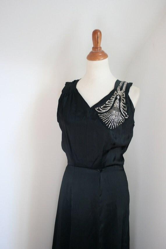 Vintage 1930s Black Satin & Rhinestones Deco Gown / AS IS