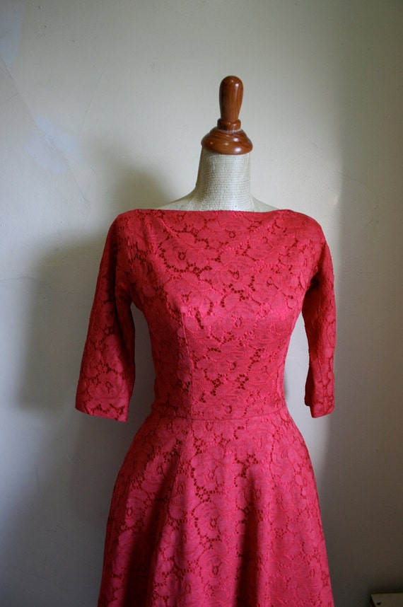 Vintage 1950s Red Lace GIGI YOUNG Dress