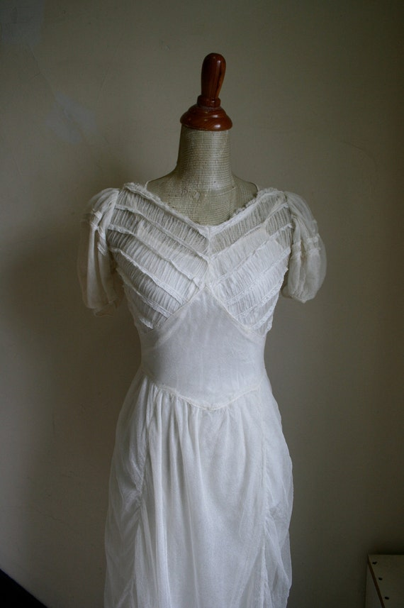 Vintage 1930s Silk Net Tulle Wedding Gown & Slip Set