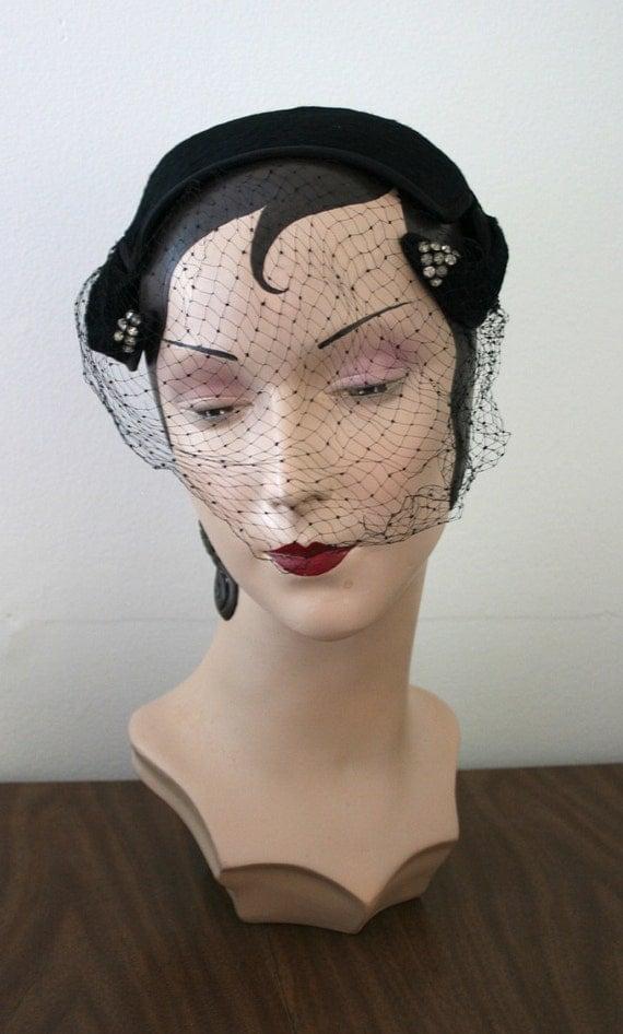 VIntage 1950s BELMAR Black Faux Fur & Crystal Accented Veil Hat