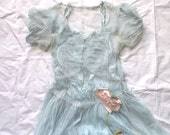 Vintage Baby Blue Shabby Worn Formal Dress with Roses . . . small size