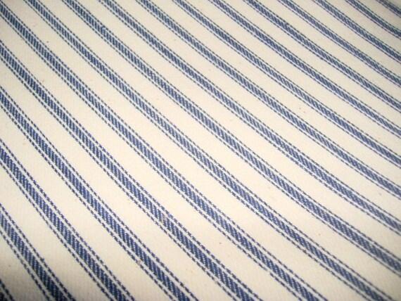 Vintage 50s era denim blue Ticking Fabric . . . 1 yard long X 32 inches wide