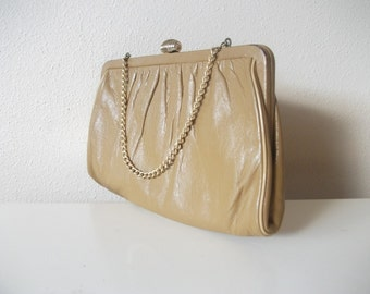 Pale Mustard Yellow Leather Chain Strap Purse