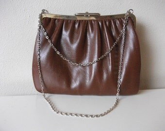 70s Nutmeg Brown Leather Shoulder Bag with Chain Strap