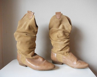Tan 80s Slouch Boots, Size 6