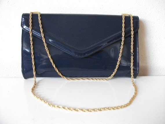 Navy Blue Patent Leather Evening Bag with Gold Chain Strap