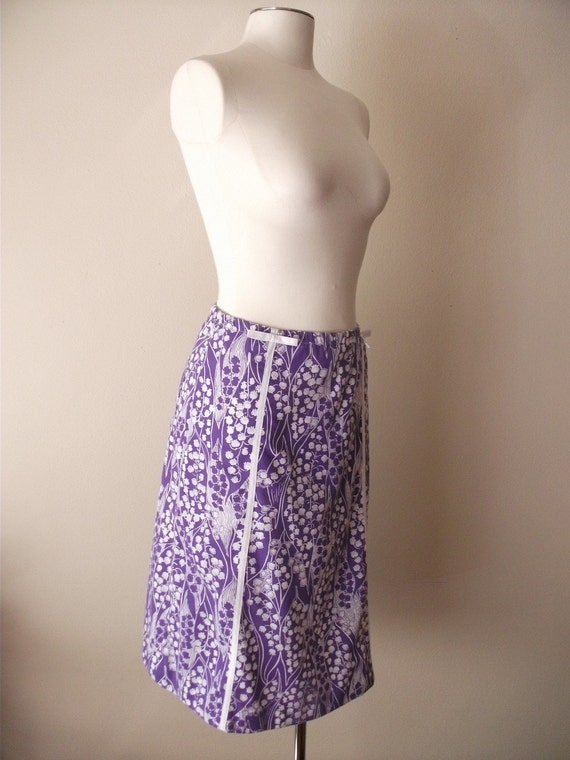 70s Purple and White Bluebell A Line Skirt, Small