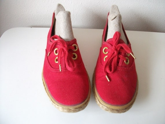 Red Canvas Grasshoppers Sneakers, Vegan, Size 4.5 or 5