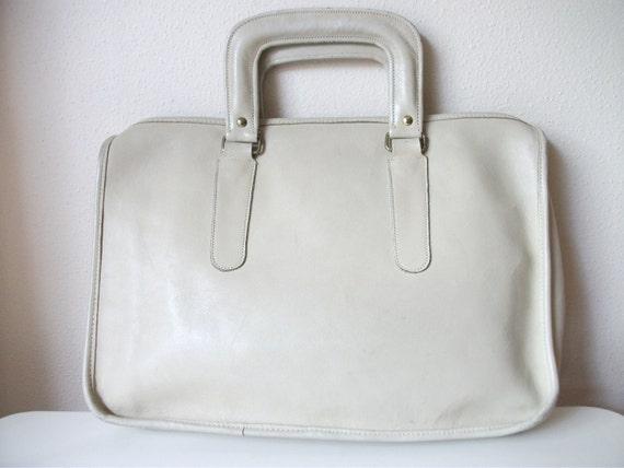 Cream 80s Coach Inspired Mini Briefcase