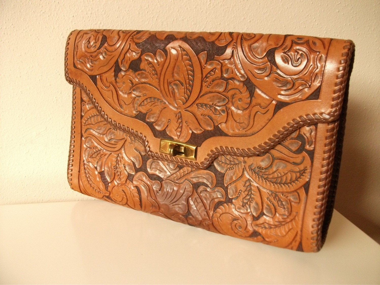 Western Hand Tooled Leather Clutch Portfolio
