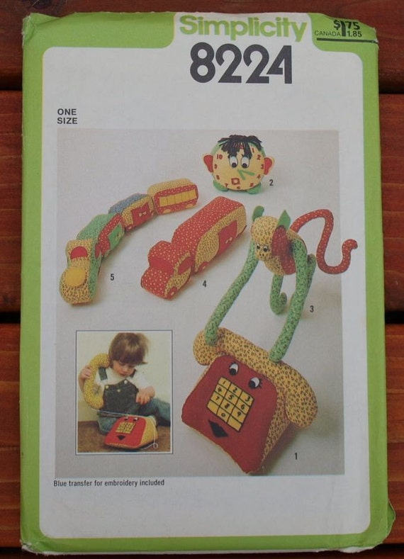 Telephone and Clock Stuffed Toys Simplicity Sewing Pattern