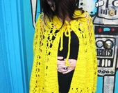 ELECTRIC Banana VINTAGE Crochet Shawl