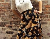 RESERVED: 1970s Streak of Tigers Wrap Skirt