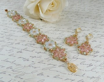 Woven Bracelet and Earring Set in Opal and Peach Crystal