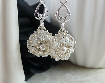 Woven Dangle Earrings in Snow White and Silver