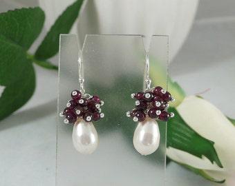 Garnet Earrings with Swarovski Pearls