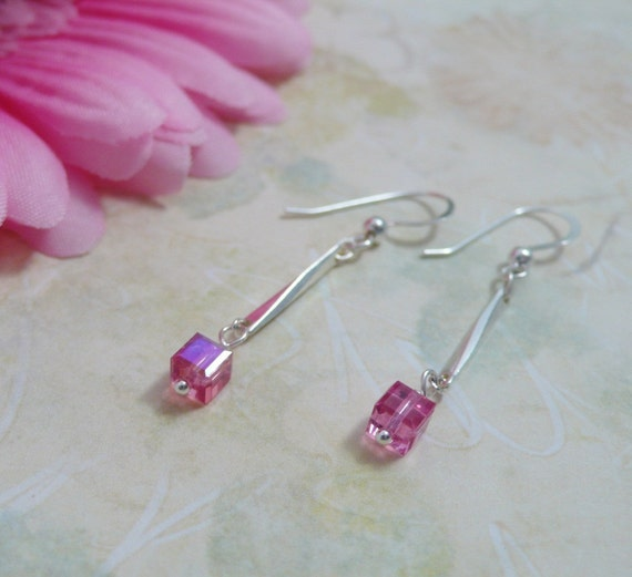 Dangle Earrings with Swarovski Crystal Cubes