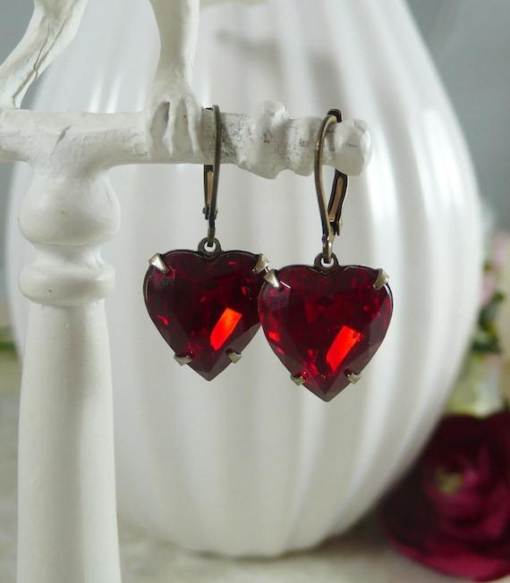 Earrings Ruby Red Vintage German Glass Hearts