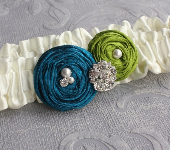 Bridal Garter SET in Ivory with Green and Teal Roses - the Olivia Garter (Other Colors Available)
